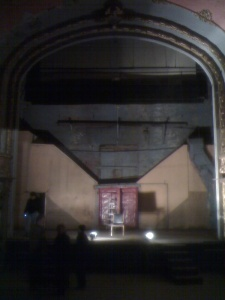 Looking down at the stage from the balcony