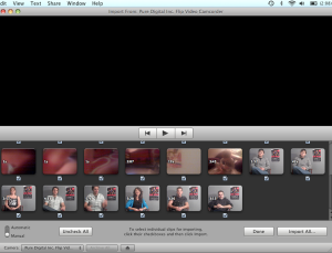 The import window in IMovie